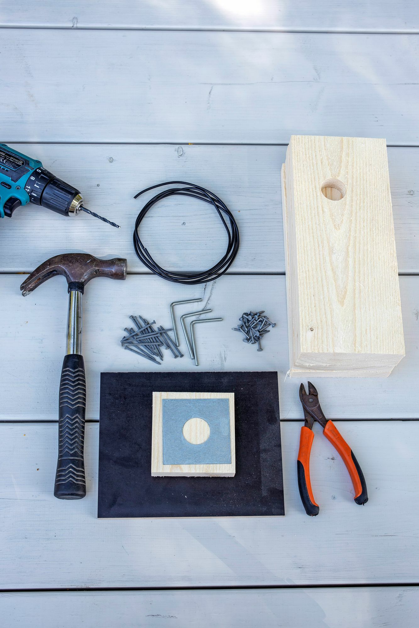 1 & 2. To build a birdhouse, you need a raw board, film faced plywood, hammer, saw, nails, drill, side cutters, protective damper, installation cable as a hanging wire.