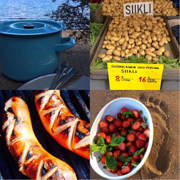 Suomalaista kesäruokaa eli uusia perunoita, ansikoita ja grillattua makkaraa