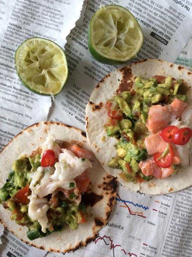 Tacoja ja cevicheä