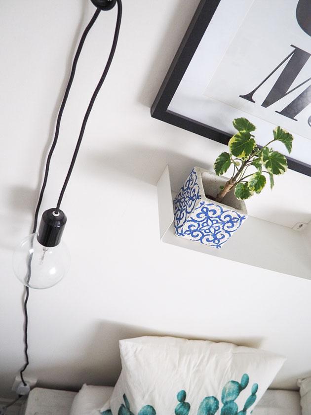 viherkasveilla piristystä makuuhuoneen sisustukseen