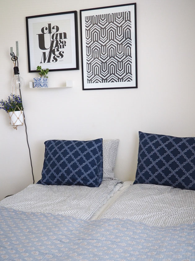 sisusta makuuhuone kauniiksi sinisellä