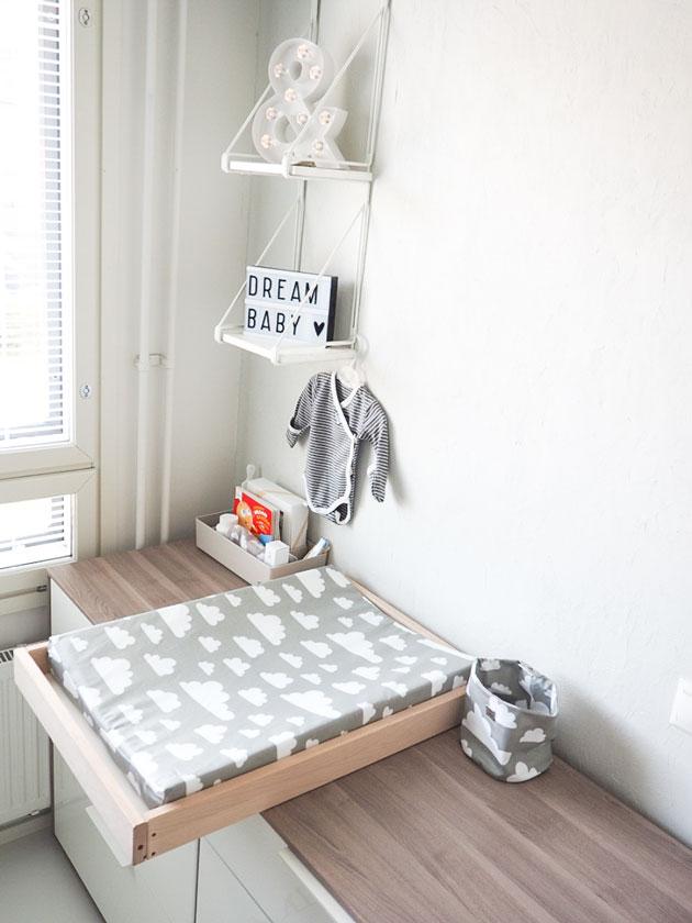 diy vauvan hoitopöytä lipaston päälle