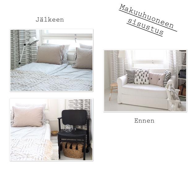 ennen ja jälkeen kuvat uudesta makuuhuoneen sisustuksesta