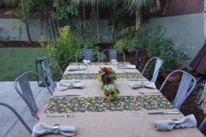 Nautimme Kiitospäivän aterian ulkona.