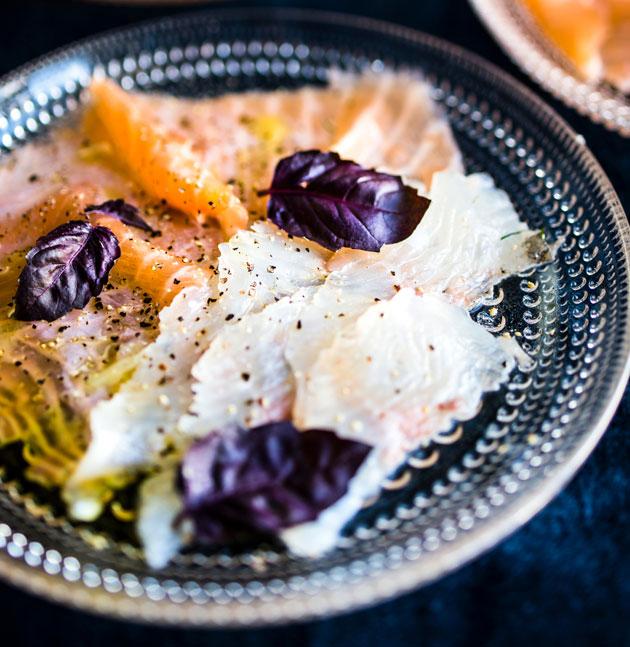 Lohi ja kuha carpaccio