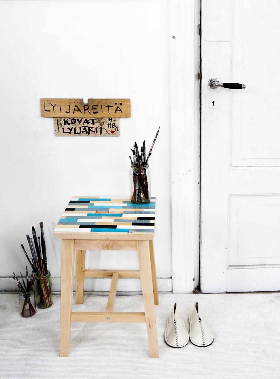 Kuva - Tuunaa tuoli puupalikoilla