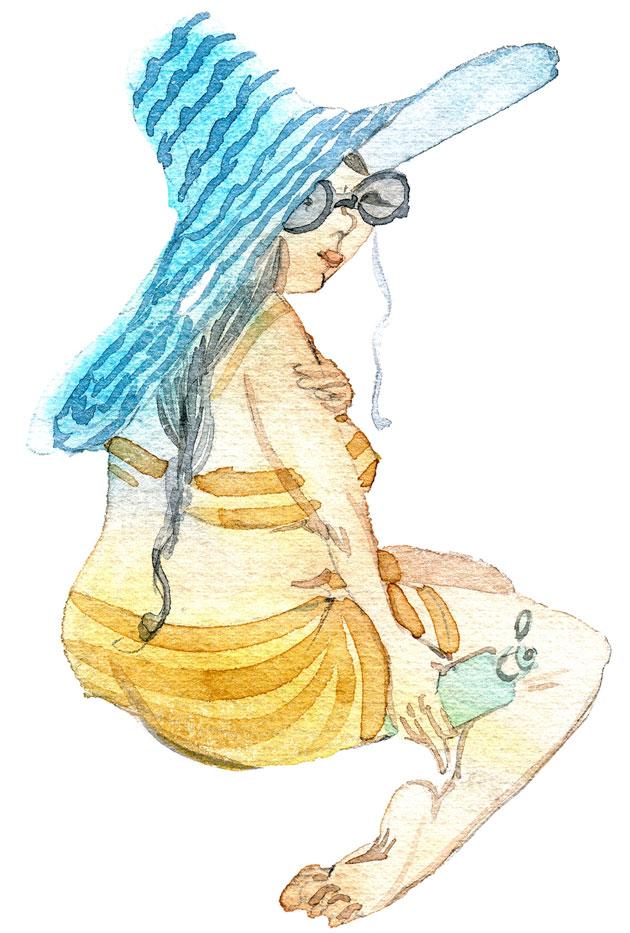 Piirretty kuva, jossa nainen ottaa aurinkoa suuri lierinen hattu päässä
