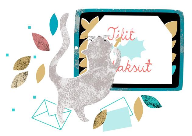 piirretty kuvituskuva, jossa kissa kirjekuorten kanssa