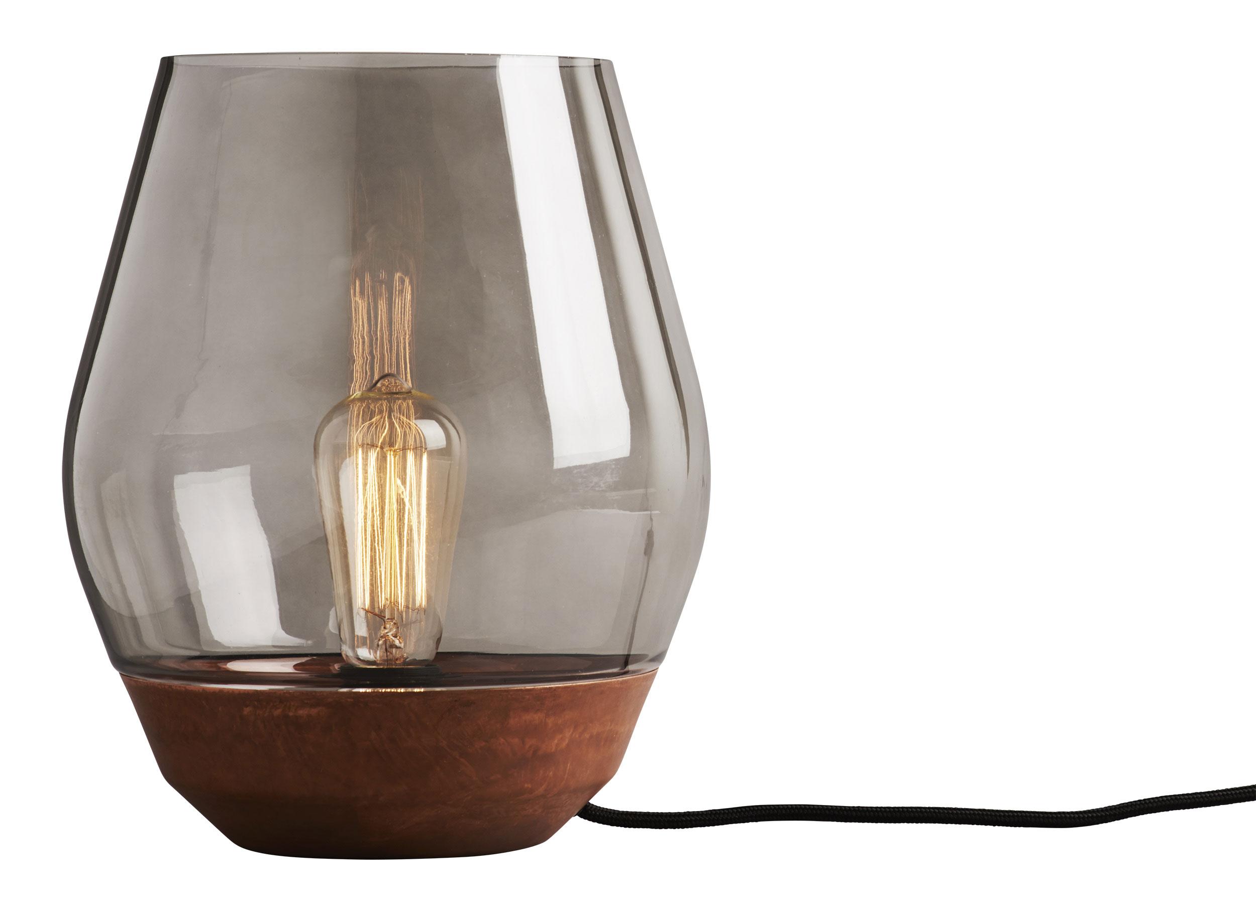 Kuparia ja lasia yhdistävä pöytävalaisin