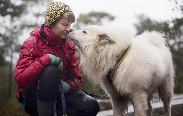 Sanni Laine kalliolla Sulo-koiransa kanssa.