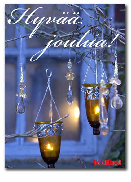 Lähetä Hyvää joulua -tervehdyksesi tänä jouluna e-kortilla! Kuvassa lasiset lyhdyt