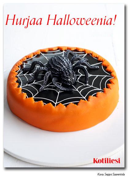 Lähetä Hurjaa halloweenia -toivotus ystävällesi Kotilieden e-kortilla. Kortissa mustaoranssi hämppiskakku
