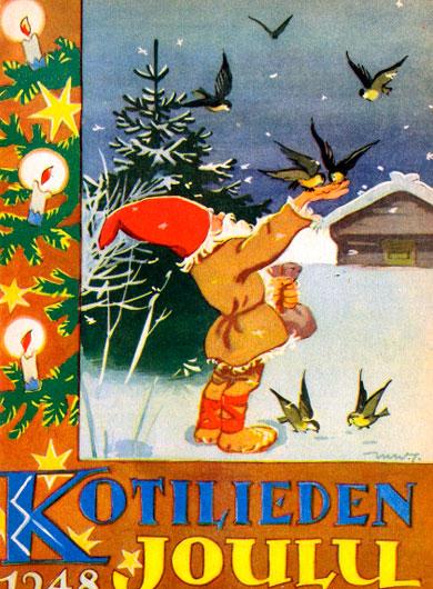 Kotilieden joulu e-kortti, jossa joulutonttu ruokkii lintuja