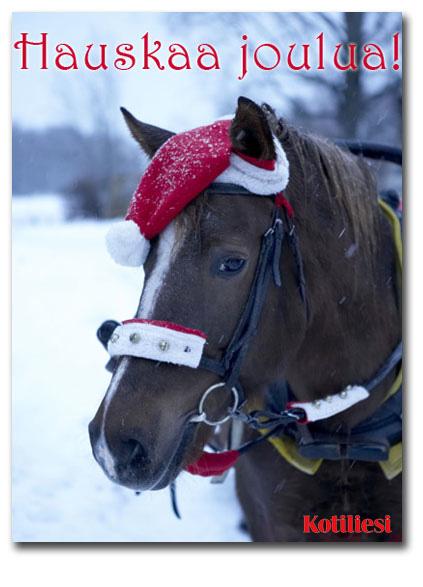 Lähetä hevosaiheinen Hauskaa joulua! -onnittelukortti e-korttina!