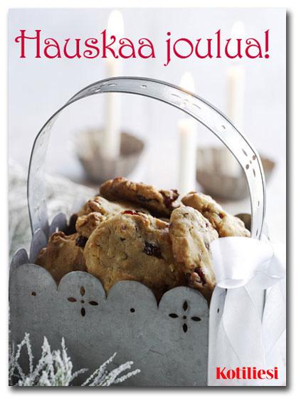 Hauskaa joulua e-kortti karpalopikkuleivillä