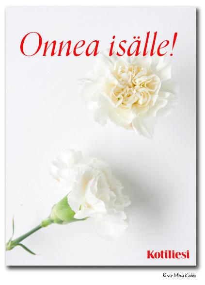 Lähetä Onnea isälle -onnittelukortti Kotilieden vaalean kukkaisella e-kortilla!
