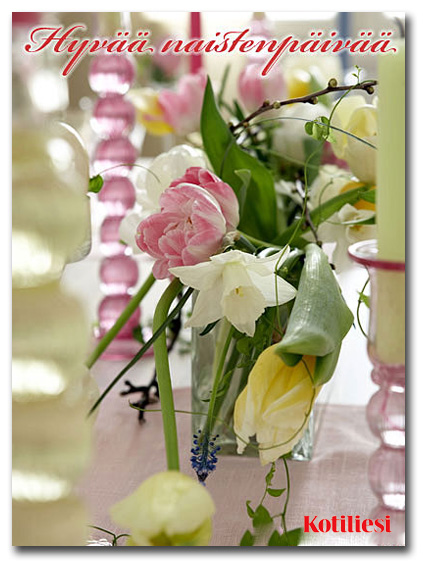 Lähetä Hyvää naistenpäivää -kukkakortti sähköisenä e-korttina!