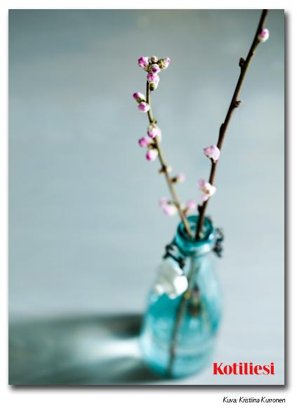 E-kortti turkoosilla vaasilla ja pinkeillä kukilla