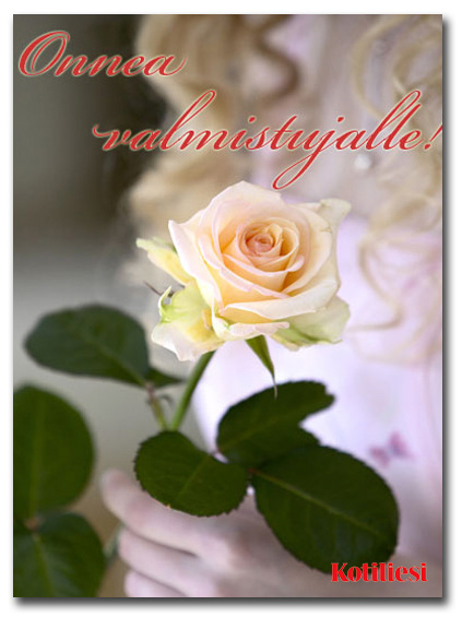 Ruusuinen Onnea valmistujalle -onnittelukortti e-korttina