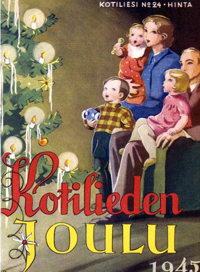 Kotilieden Joulu 1945 -joulukortti e-korttina, jossa perhe joulukuusen äärellä.