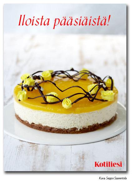 Keltainen juustokakku. Lähetä Iloista pääsiäistä -toivotus sähköisenä e-korttina