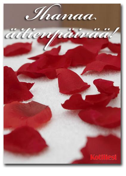 Ihanaa äitienpäivää e-kortti ruusun terälehdillä