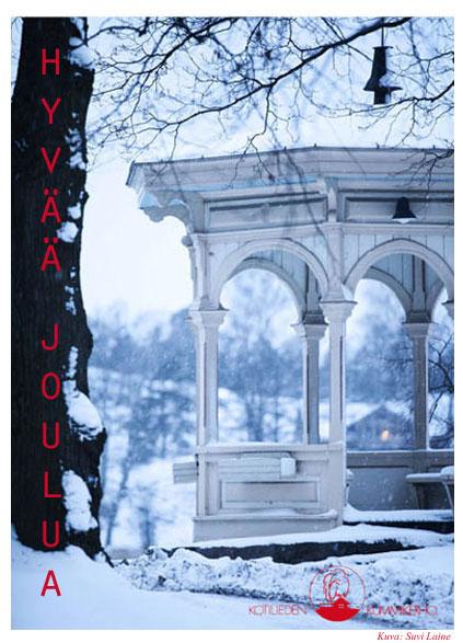 Hyvää joulua e-kortti lumisella maisemalla