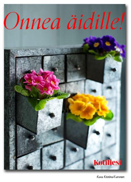 Onnea äidille e-kortti kukkalaatikoilla