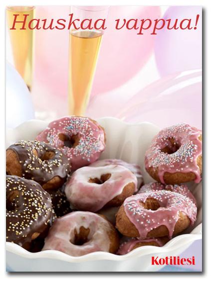 Lähetä donitsiaiheinen Hauskaa vappua e-kortti