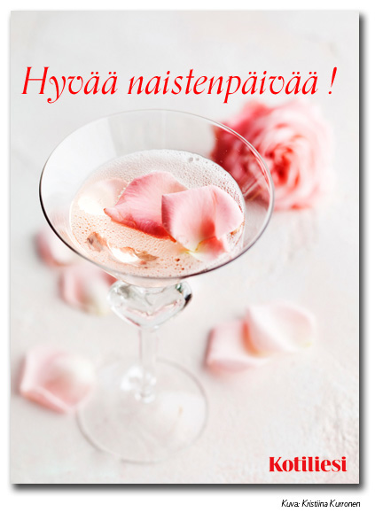 Lähetä drinkkiaiheinen Hyvää naistenpäivää -kortti sähköisenä e-korttina!