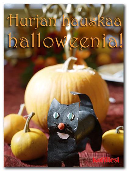 Toivota Hurjan hauskaa halloweenia e-kortilla, jossa on kurpitsoja sekä paperinen musta kissa