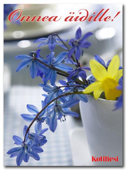 Onnea äidille e-kortti sinikeltaisin kukkasin