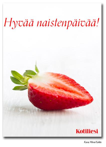 Lähetä mansikkainen Hyvää naistenpäivää -kortti sähköisenä e-korttina!