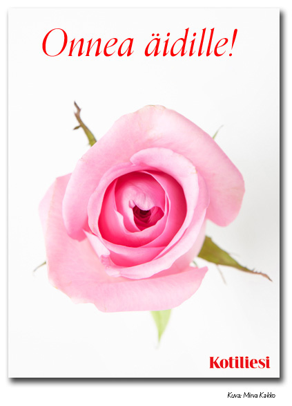 Onnea äidille e-kortti vaaleanpunaisella ruusulla