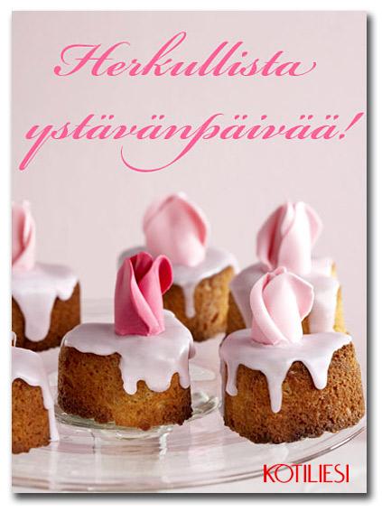 Vaaleanpunainen leivosaiheinen Herkullista ystävänpäivää e-kortti