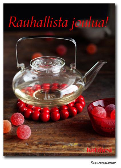 Rauhallista joulua e-kortti marmeladikuulilla ja glögikannulla