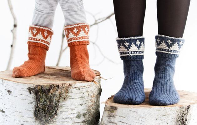 norjalaiset villasukat lapselle ja aikuiselle