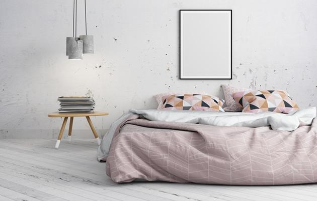 Kaunis makuuhuoneen pastellivärinen sisustus