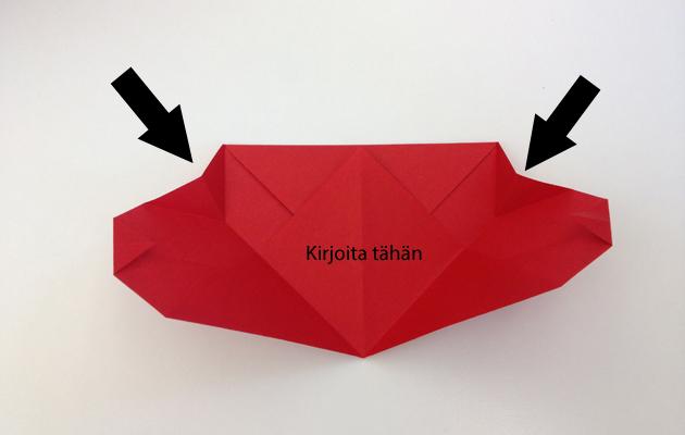 ystävänpäiväkorttimalli: origamisydän viesti ystävälle