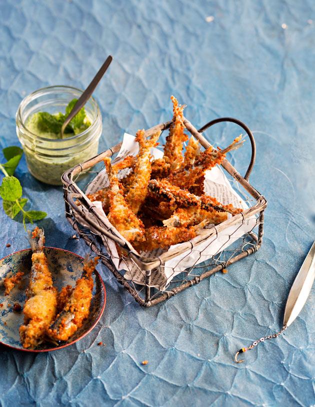 couscous-frittimuikut ja minttumajoneesi