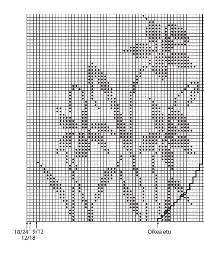 Narsissi kuviollisen jakun lankakaava