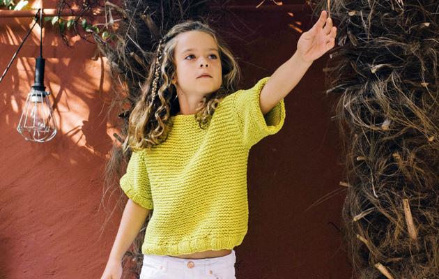 Keltainen neulepusero pojalle tai tytölle