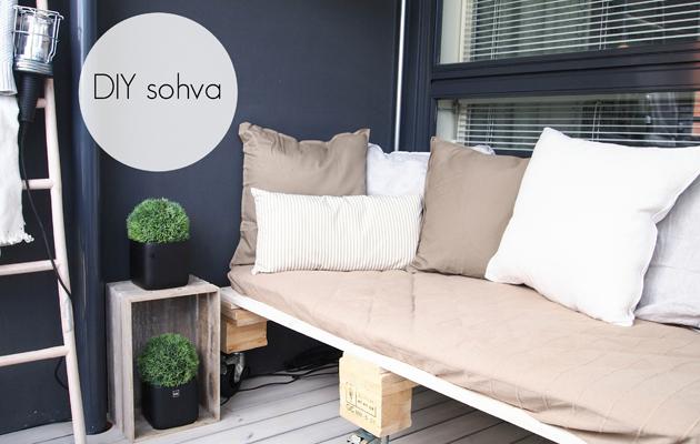 Hurmaavan valkeaa -blogin Hannan kodin paras DIY on parvekkeelle tehty sohva