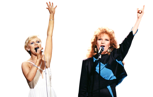 Euroviisuissa esiintyneet Katri Helena ja Vicky Rosti