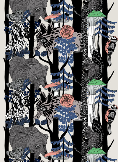 Maija Louekari suunnitteli Marimekolle Suomen 100-vuotisjuhlien kunniaksi Veljekset-kuosin, jonka inspiraationa on ollut villi pohjoinen luonto eläimineen.