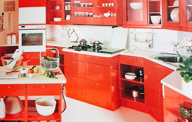 Työpisteet 80-luvun keittiössä