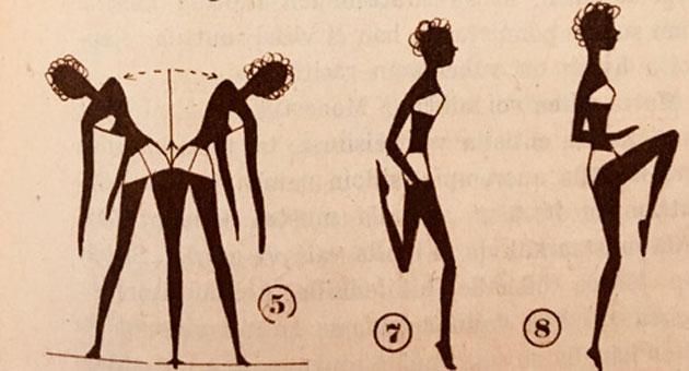 Jumppaa 1950-luvulla, erilaisia liikkeitä.