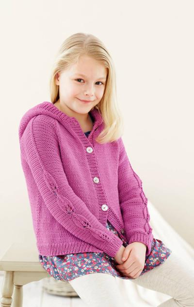 Tytön napillinen pinkki neule