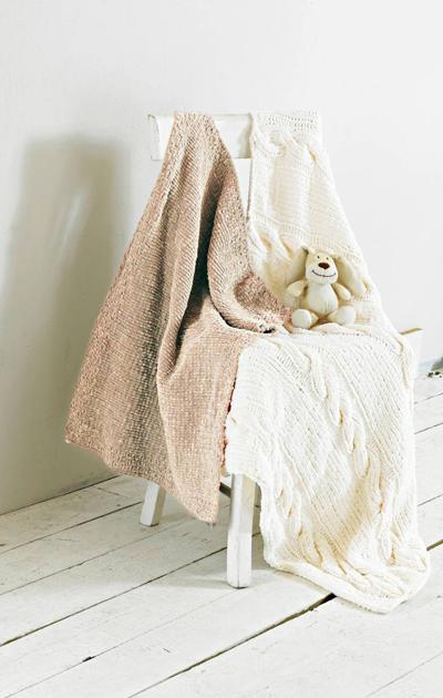 Palmikkoa ja helmineuleta - kaksi peittoa