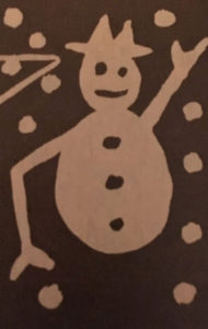 Lumiukko syntyy perunaleimasimeen helposti.